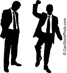 winner loser - silhouettes of businessmen isolated on white