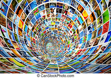 Tunnel of media, images, photographs. Tv, multimedia...
