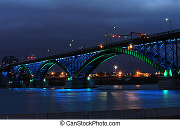Peace Bridge with green and blue lights - The Peace Bridge,...