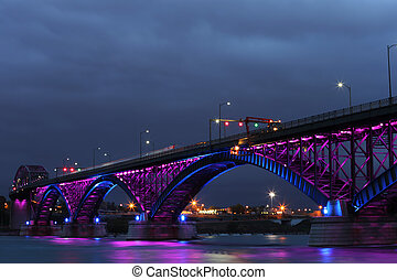 Peace Bridge with purple and blue lights - The Peace Bridge,...