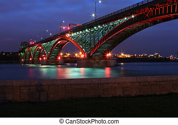 Peace Bridge with Red and Green Lights - The Peace Bridge,...