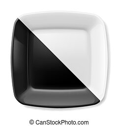 Black and white plate - Empty black and white square plate...