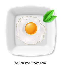 Fried eggs served on white plate