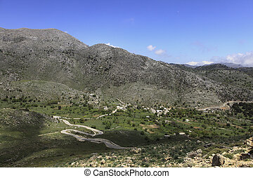 Asfendos plain in Crete - A view down into the historic...