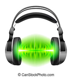 Headphones with music playing - Headphones with green sound...