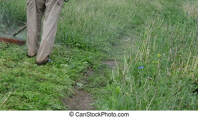 man trimmer cut grass - Closeup man worker with trimmer cuts...