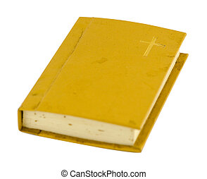 old prayer book with hard cover isolated on white - old...