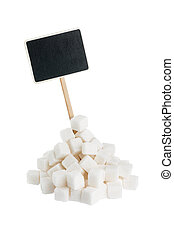 Heap of lump sugar with a pointer for your text, isolated on...