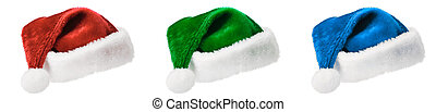 Three Santa hats isolated on white