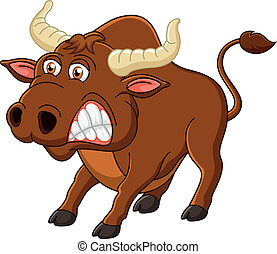 Angry bull cartoon - Vector illustration of Angry bull...
