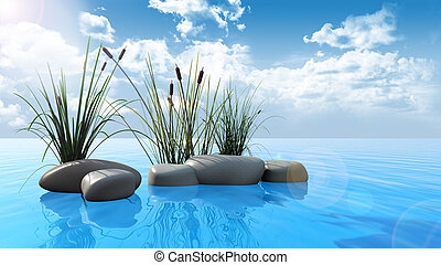 Rocks and reeds on water - 3D render of rocks and reeds on a...