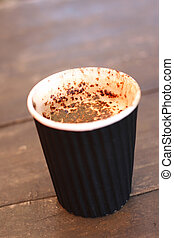 Delicious cappuccino in a take-away cup - A delicious...