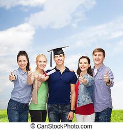 grupo, estudiantes, actuación,  Diploma, Arriba, pulgares