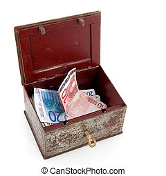 treasure chest with money - Old rusty treasure chest with...