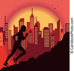 girl jogging - Illustration of a cute girl jogging and city...