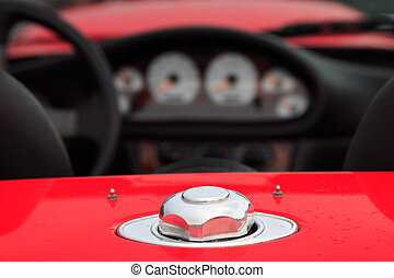 fuel cap - Close up of a cabriolet car with a focus on the...