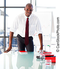 Businessman in a presentation to his team