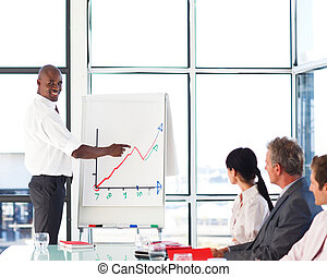 Businessman giving a presentation to his team