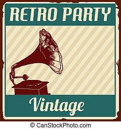Vintage Retro Party poster on retro style, vector...