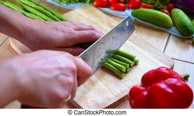 Cutting Vegetables Long Bean - ooking Vegetarian Food...