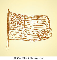 Sketch flag of USA, vector background
