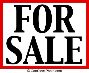 For Sale Sign - Black FOR SALE isolated on white background...
