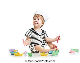 CÙte, Junge,  baby, Seemann, Papier, Boote, Hut, spielende
