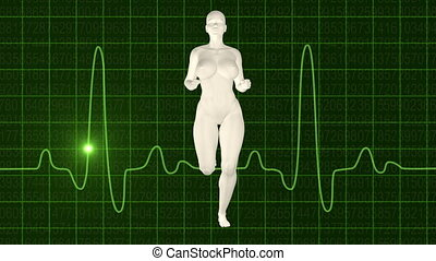 Woman jogging green oscilloscope
