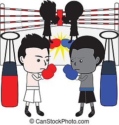 boxing cartoon vector - Black and white boxer in the ring...