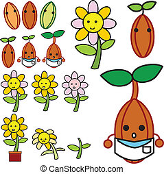 growing flower vector - The growth of the flowers from the...