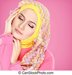portrait of beautiful woman wearing hijab - Fashion portrait...