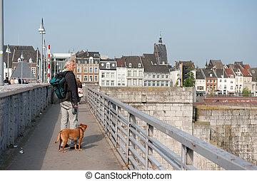 Maastricht - Man on the Sint Servaasbridge in Maastricht