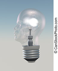 Light bulb in form of human head