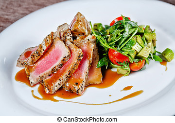 Grilled tuna with vegetables - Appetizing slightly roasted...