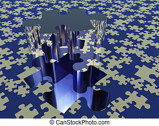 Puzzle piece on puzzle covered surface