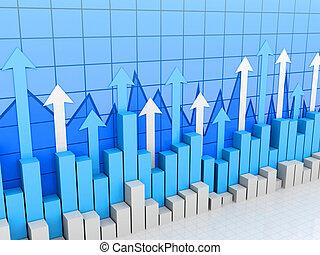 Stock market bars, charts and graphs toward financial success