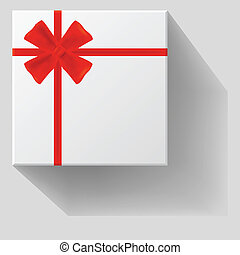 Gift with red bow with ribbons