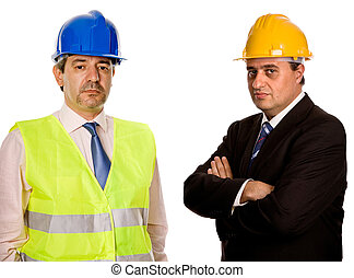 workers - two workers isolated in a white background
