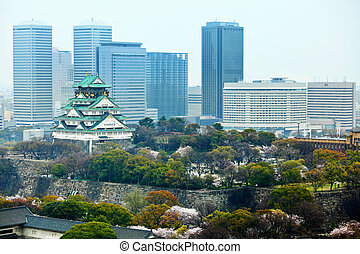 Osaka city with castle
