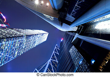 Hong Kong at night, view from below