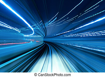 trem, em movimento, rapidamente, túnel
