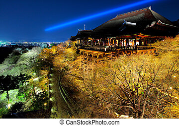 Temple at night in Kyoto