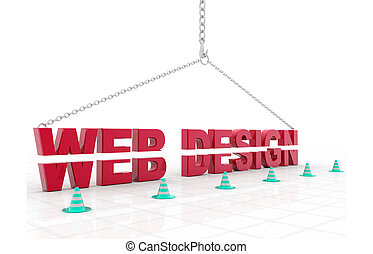 3d illustration of website under construction concept