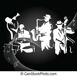 Jazz band - Jazz musicians on a black gradient background