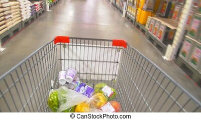 Shopping Cart Time Lapse - Walk Down the Supermarket with a...