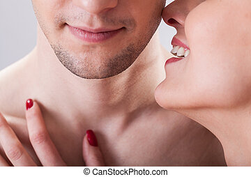 Flirting couple - A flirting couple before erotic situation,...