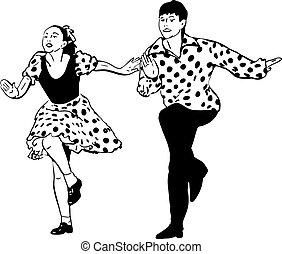 guy with a girl dancing rock and roll - black and white...
