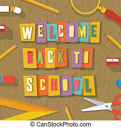 Back to school background - collage paper craft design -...