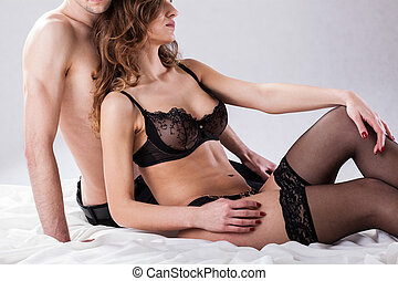 Lovers before sexual intercourse on isolated background