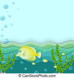 A group of yellow fishes under the sea